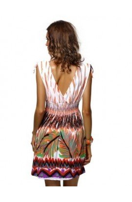 Rochie Boho Chic cu Imprimeu Multicolor