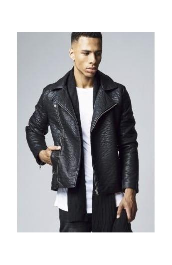 Jacheta imitatie piele Biker negru