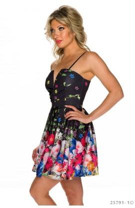 Rochie Babydoll cu Imprimeu Floral si Decupaj