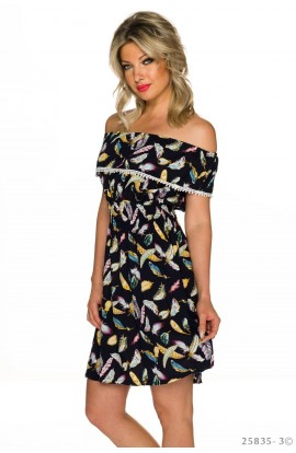 Rochie Bardot cu Imprimeu Multicolor