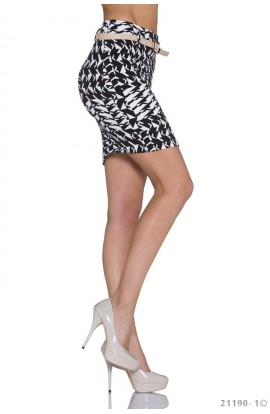 Fusta Mini Bodycon cu Imprimeu Grafic