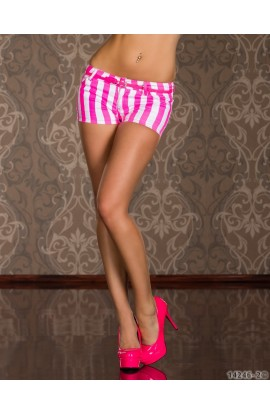 Hot Pants cu Dungi Neon