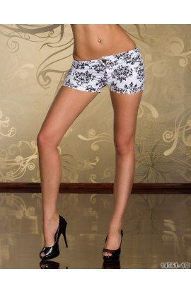Hot Pants Satinati cu Imprimeu Elegant