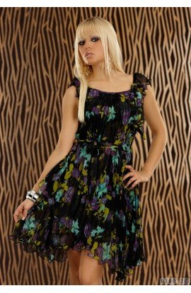 Rochie Babydoll cu Pliseuri si Imprimeu Floral