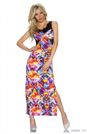 Rochie Lunga cu Print Abstract Galaxie