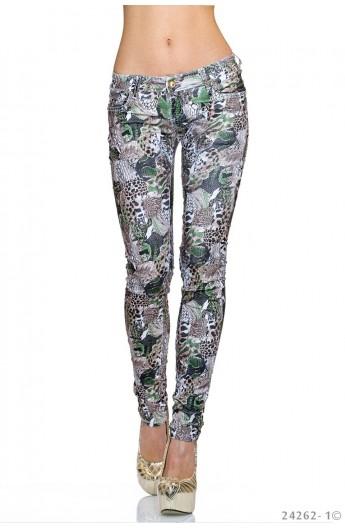 Pantaloni Skinny cu Animal Print