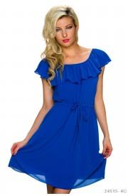 Rochie albastra de Vara Bardot cu Volanas