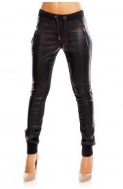 Pantaloni Dama Jogger cu Aspect de Piele