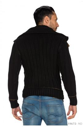 Pulover Negru cu Fermoar si Cusaturi Decorative pentru Barbati