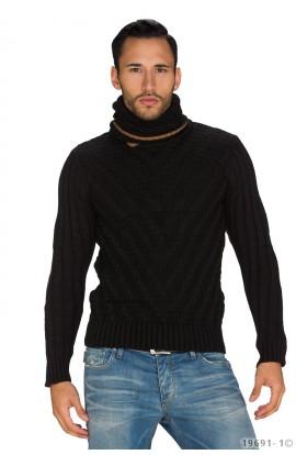 Pulover Tricotat cu Guler Parte peste Parte pentru Barbati