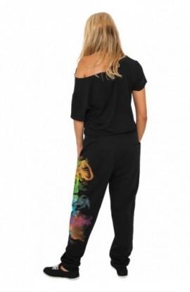 Pantaloni trening sala cu imprimeu femei negru-multicolor S