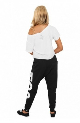Pantaloni hip hop femei negru-alb M