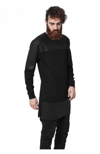 Bluza cu maneca lunga piele ecologica negru-negru L