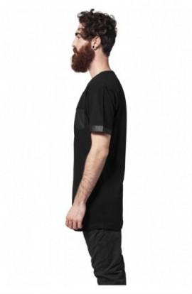 Long Shaped Leather Imitation Tee negru-negru 2XL