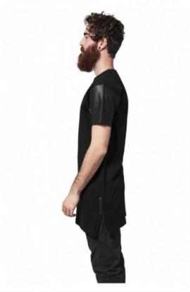 Tricou lung cu maneci piele ecologica negru-negru XL