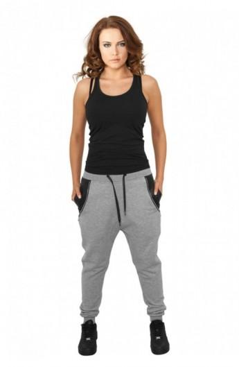 Pantaloni trening dama cu buzunar imitatie piele gri XS