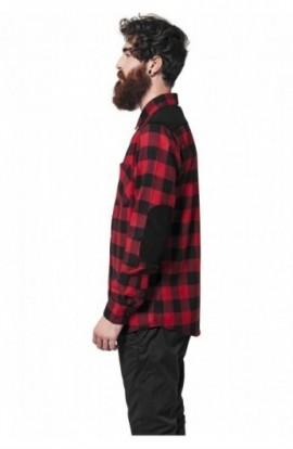 Camasa urban cu cotiere negru-rosu XL