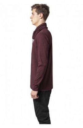 Bluze cu guler inalt cu maneca lunga negru-rosu L