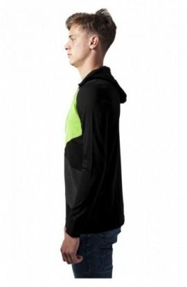 Hanorace barbati jersey negru-gri carbune-verde deschis S
