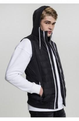 Vesta barbati casual negru-alb XL