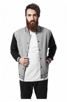 Geaca stil college trei culori gri-negru-alb XL