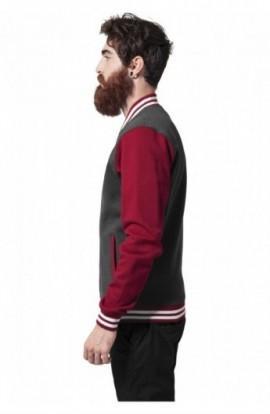 Geaca stil college trei culori gri carbunr-rubin-alb S