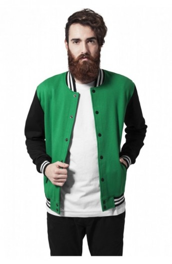 Geaca stil college trei culori verde-negru-alb 2XL