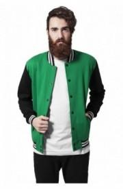 Geaca stil college trei culori verde-negru-alb S
