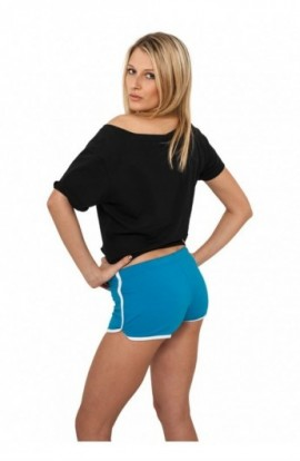 Pantaloni scurti sport femei turcoaz-alb M