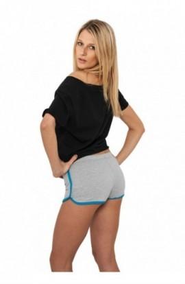 Pantaloni scurti sport femei gri-turcoaz L
