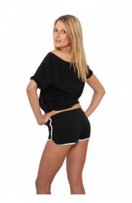 Pantaloni scurti sport femei negru-alb XL