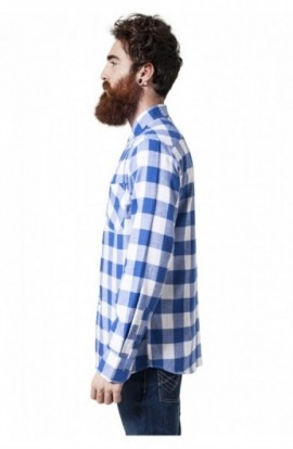 Camasi in carouri barbati alb-albastru roial XL