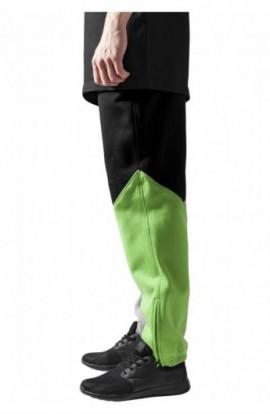 Pantalon trening zig zag gri-negru-verde deschis S