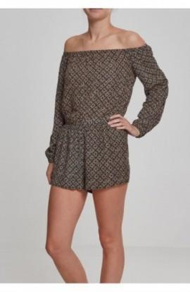 Ladies Short Longsleeve Overall negru-floare XS
