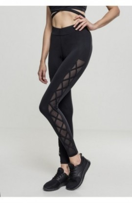 Ladies Ribbon Mesh Leggings negru XS