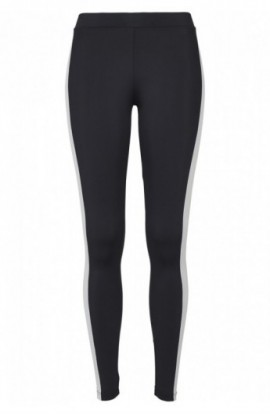 Ladies Side Stripe Leggings negru-alb-chromeyellow L