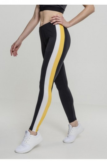 Ladies Side Stripe Leggings negru-alb-chromeyellow XS