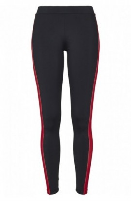 Ladies Side Stripe Leggings negru-verde-foc-rosu M
