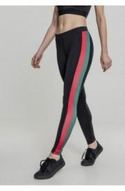 Ladies Side Stripe Leggings negru-verde-foc-rosu XS