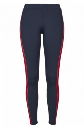 Ladies Side Stripe Leggings bleumarin-rosu-alb M