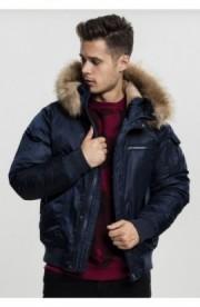 Hooded Heavy Fake Fur Bomber Jacket bleumarin M