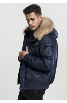 Hooded Heavy Fake Fur Bomber Jacket bleumarin S