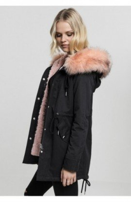 Ladies Peached Teddy Lined Parka negru L