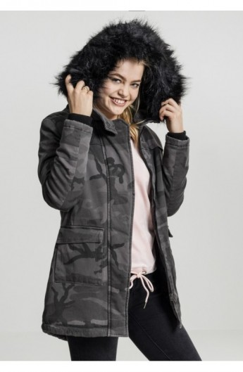 Ladies Overdyed Camo Parka inchis-camuflaj S