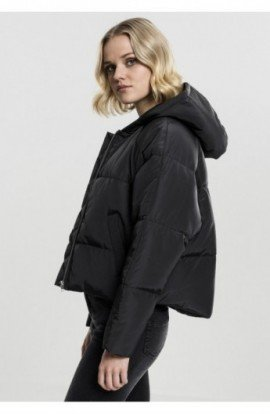 Ladies Hooded Oversized Puffer Jacket negru S