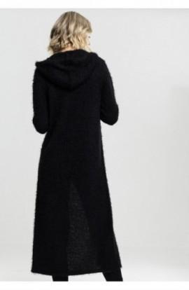 Ladies Hooded Feather Cardigan negru S