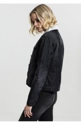 Ladies Sherpa Denim Jacket negru-washed S