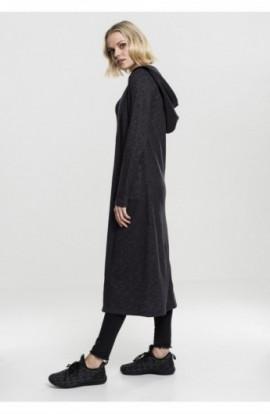 Ladies Space Dye Hooded Cardigan negru-alb S