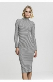 Ladies Striped Turtleneck Dress negru-alb S