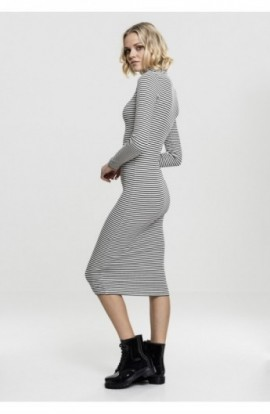 Ladies Striped Turtleneck Dress negru-alb S
